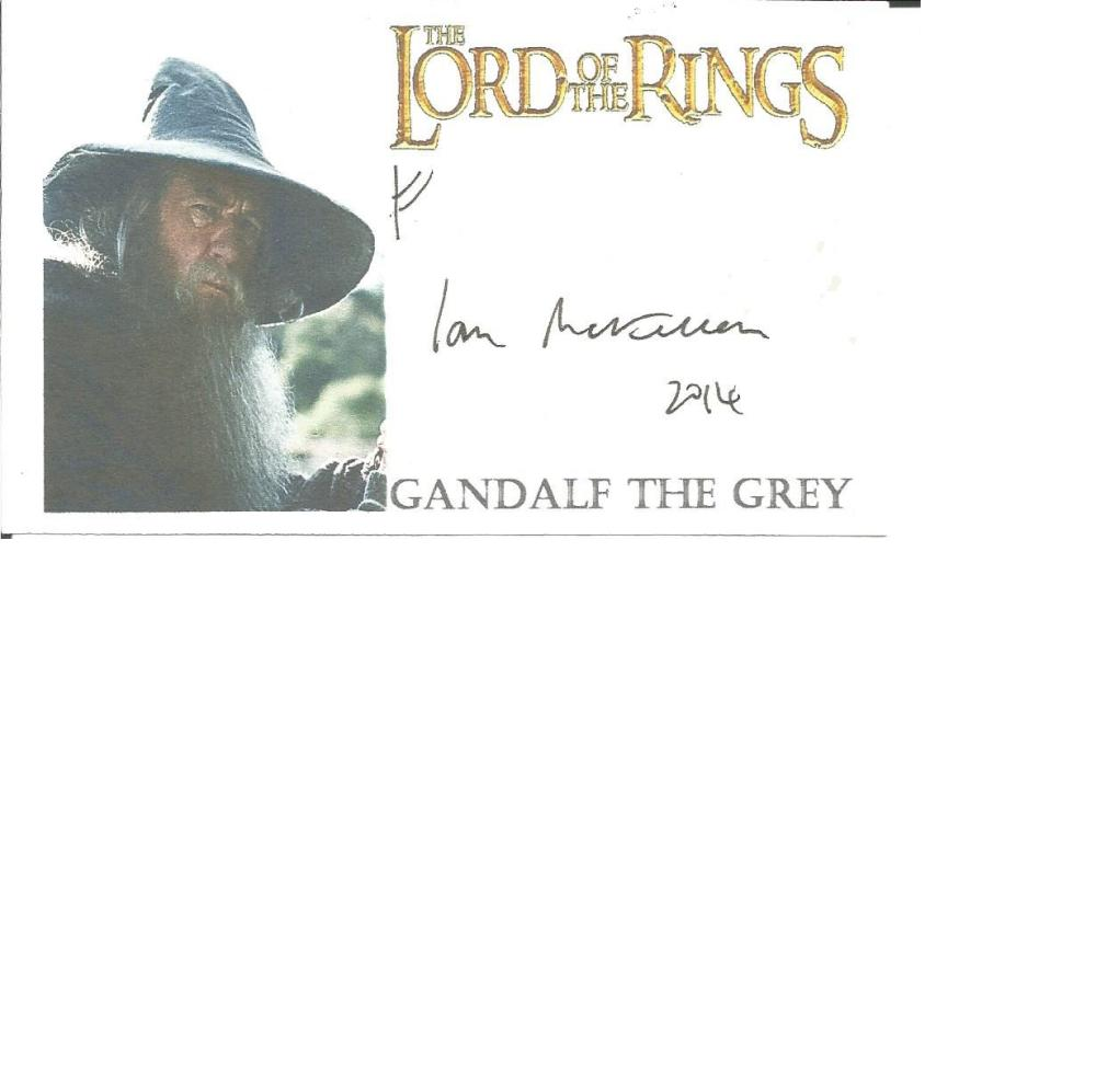 Ian McKellen signed 4 x 3 colour Lord of the Rings Gandalf the Grey card. Comes with biography