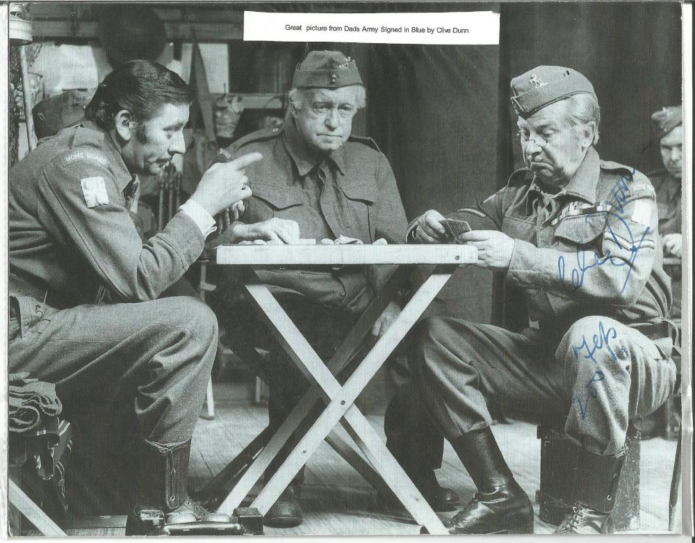 Clive Dunn signed 8 x 6 b/w Dads Army photo. Comes with biography information. Good Condition. All