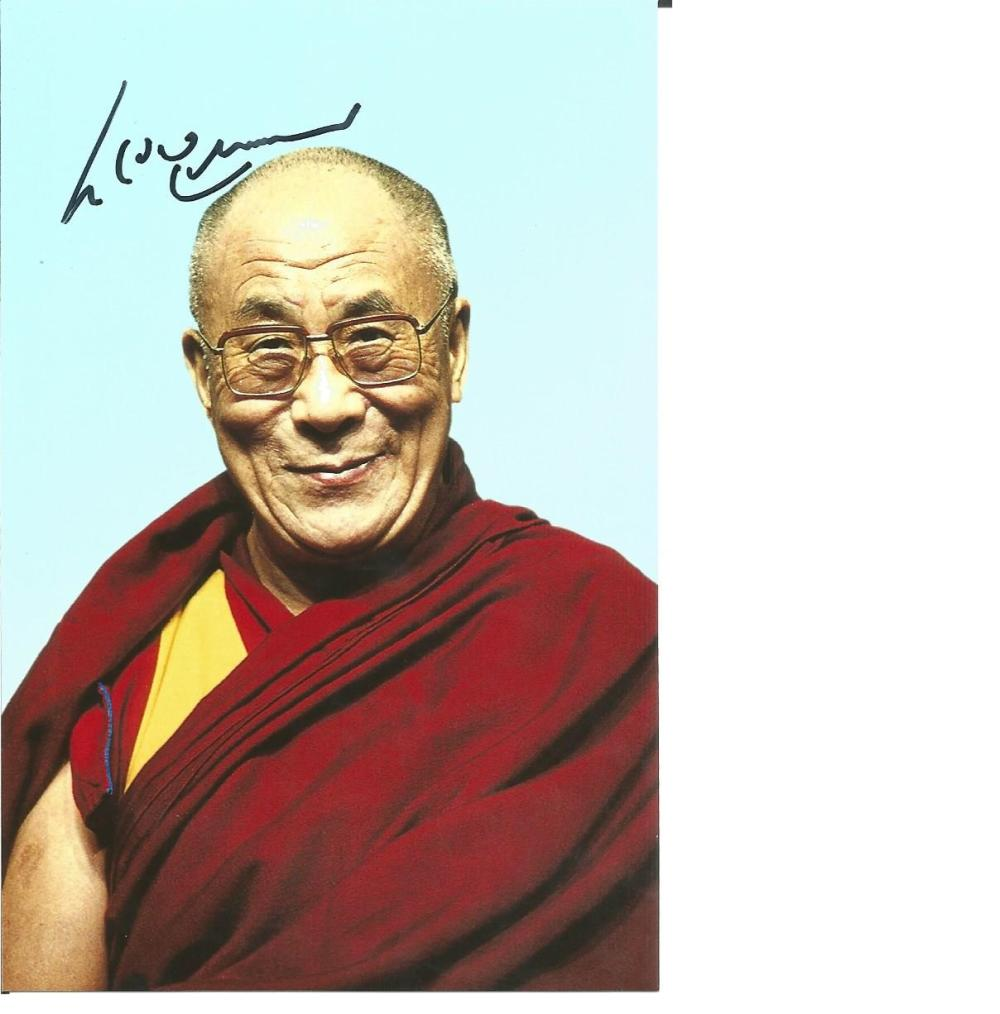 Dalai Lama signed 6 x 4 colour portrait photo. Comes with biography information. Good Condition. All