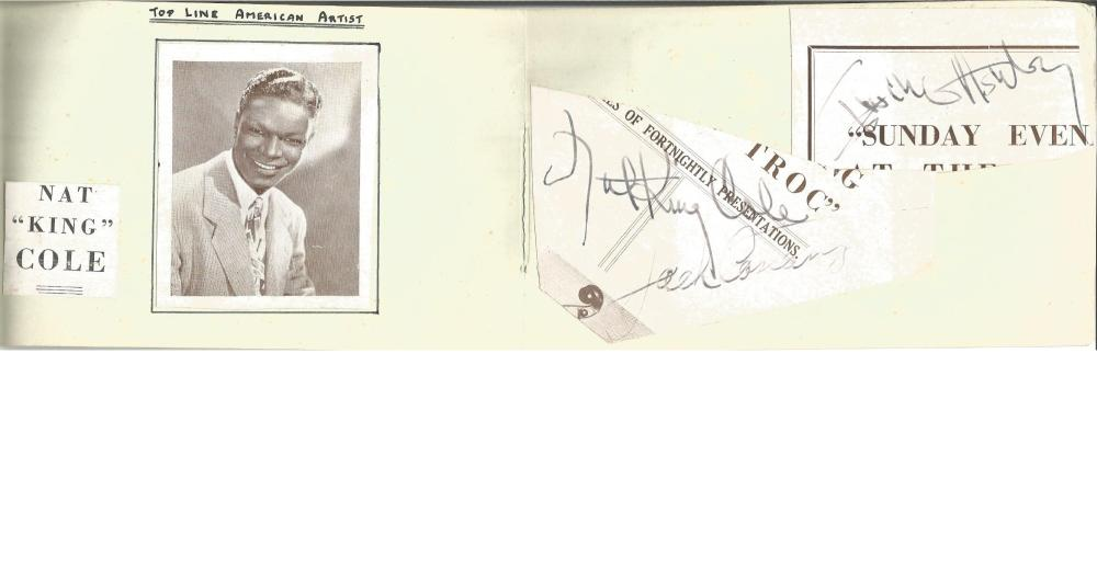 Nat King Cole, Irving Ashby & Jack Constanzo irregularly cut autographs fixed to vintage autograph