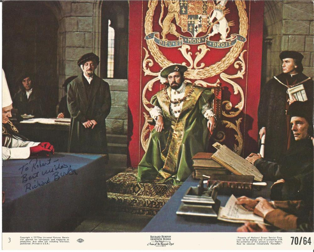Richard Burton signed 10 x 8 movie front of house colour still from the movie Anne of a Thousand