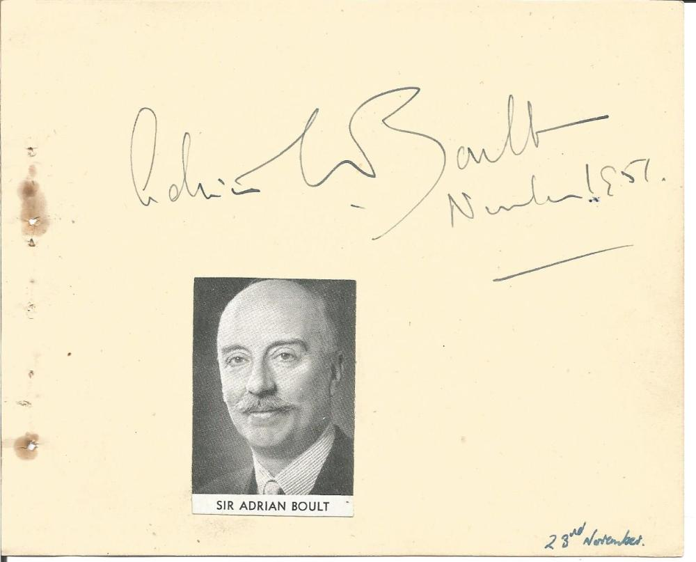 Conductor Sir Adrian Boult vintage autograph album page with small magazine photo affixed. Comes with