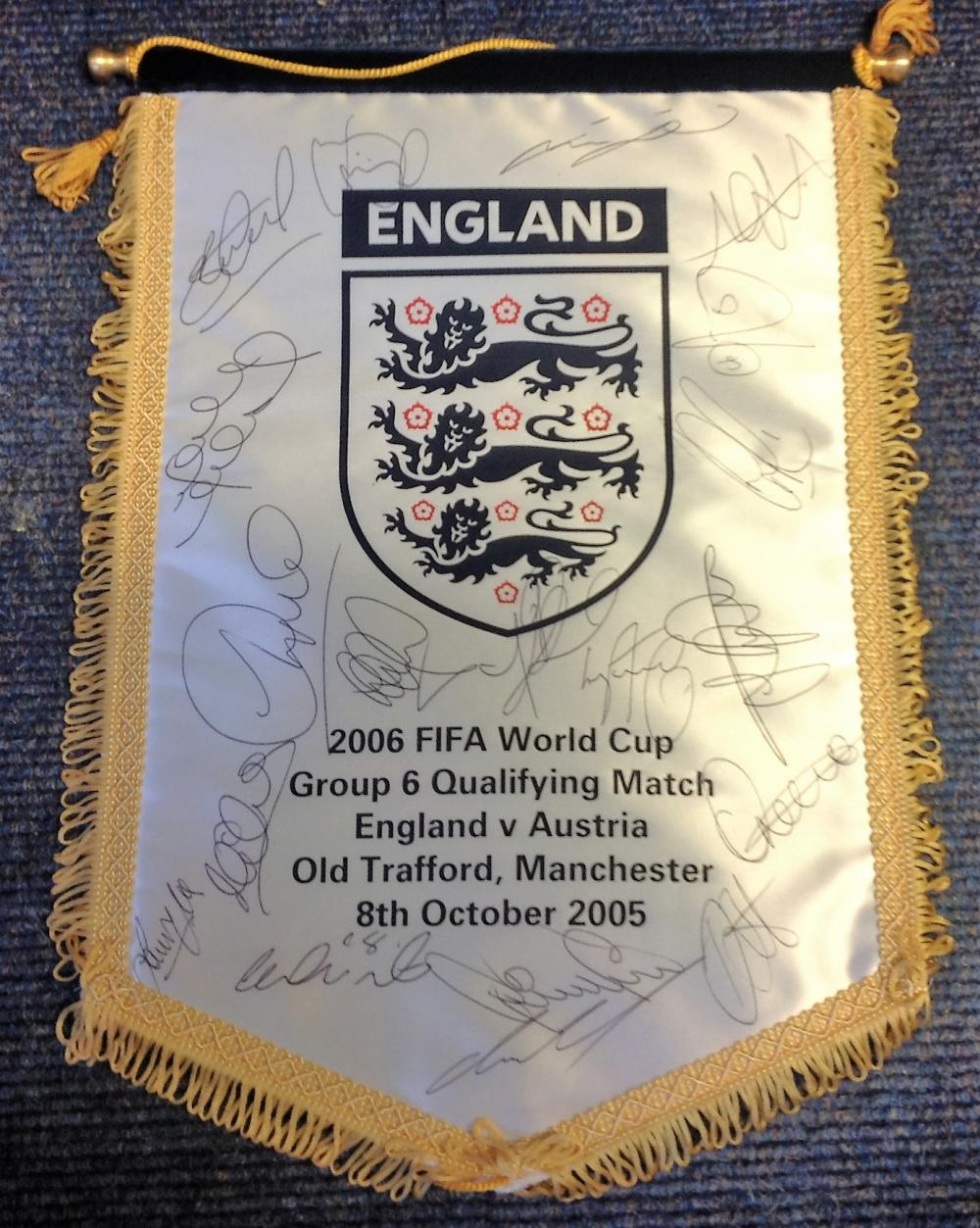Football England commemorative pennant England v Austria Old Trafford 8th October 2005 signed by
