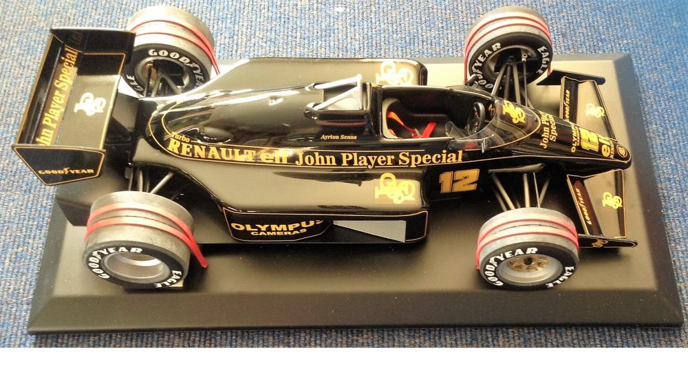 Motor Racing Ayrton Sennas 1985 Lotus John Player Special 97T Formula One scale mode in 1/8 size.