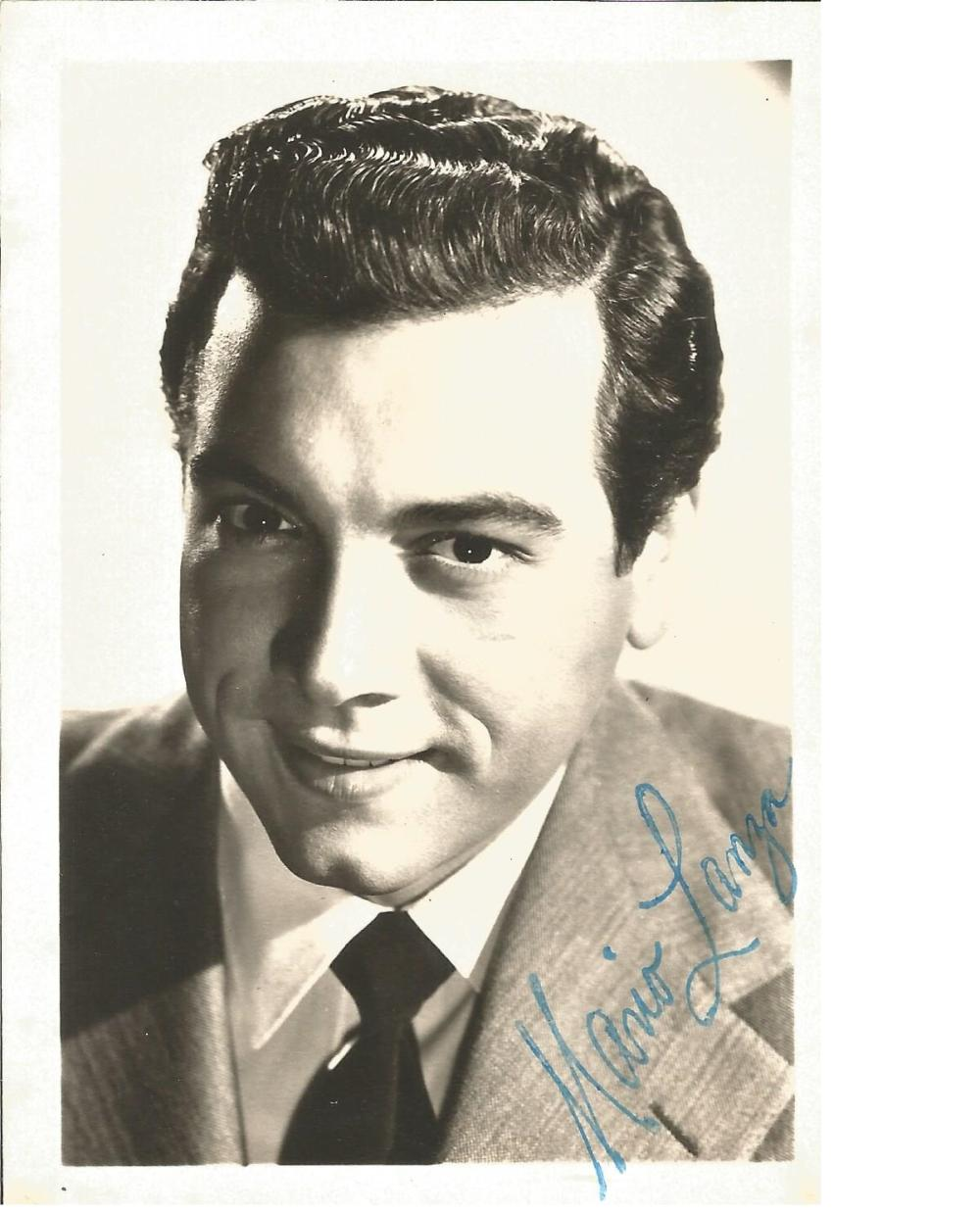 Mario Lanza signed 6x4 vintage postcard. Good Condition. All signed pieces come with a Certificate
