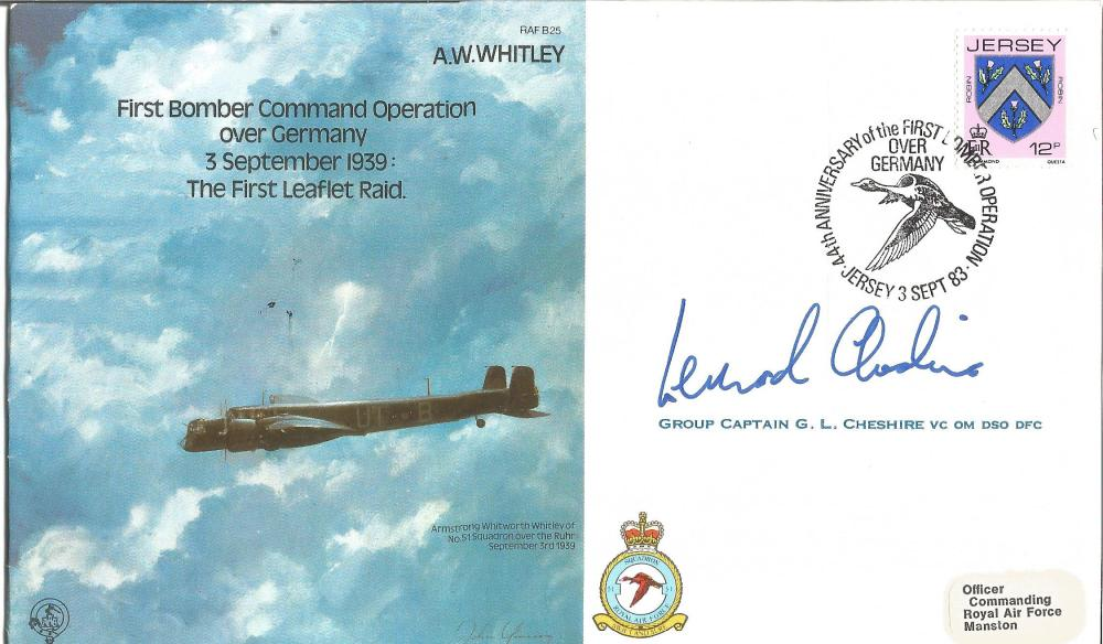 Leonard Cheshire VC signed AW Whitley RAF bomber cover. Good Condition. All signed pieces come