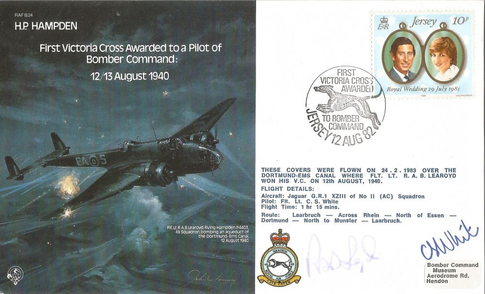 Rob Learoyd VC signed HP Hampden RAF bomber cover. Good Condition. All signed pieces come with a