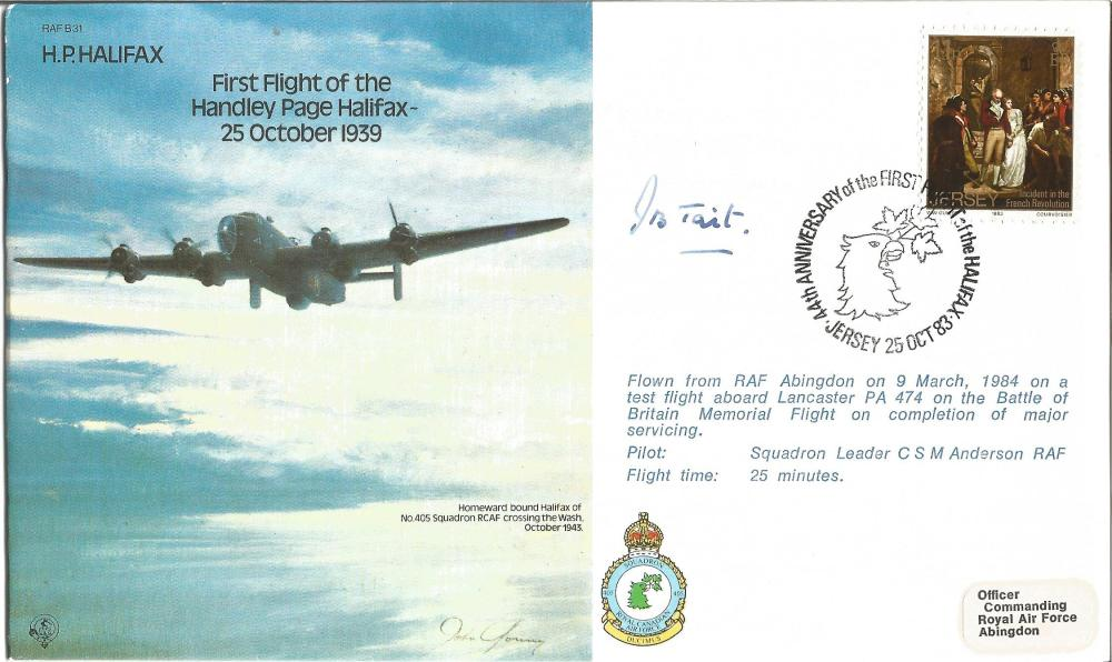 Grp Capt James Tait DSO DFC signed HP Halifax bomber cover. Good Condition. All signed pieces come