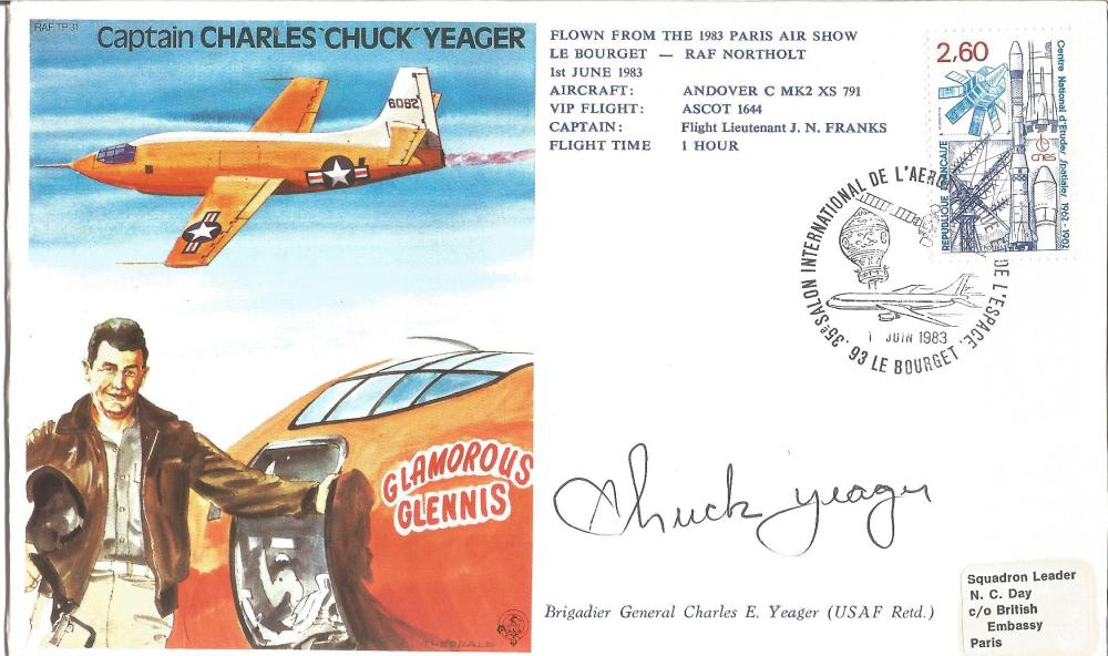 Brid Chuck Yeager signed on his own test pilot cover. Good Condition. All signed pieces come with