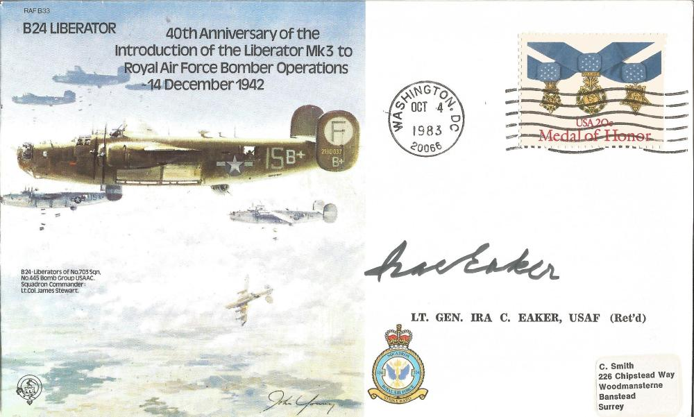 Gen Ira Eaker WW2 USAF signed B24 Liberator bomber cover. Good Condition. All signed pieces come