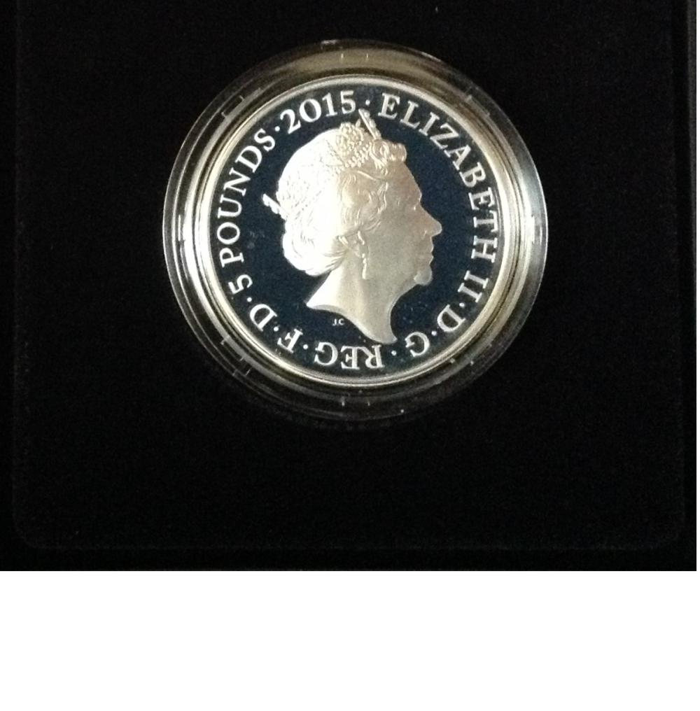 Waterloo Royal Mint £5 Silver Proof Coin in original presentation box with certificate. In 2015 to