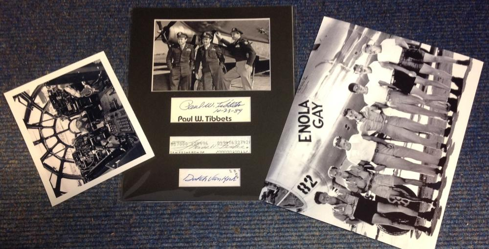 Atom Bombers signed WW2 display. Autographs of Paul Tibbetts, Thomas Ferebee and Dutch Van Kirk