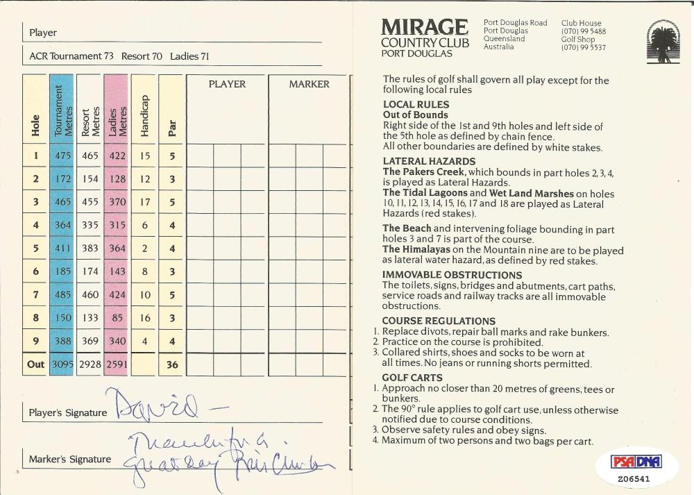History Bill Clinton signed Mirage country club golf scorecard dedicated to David c/w PSA DNA