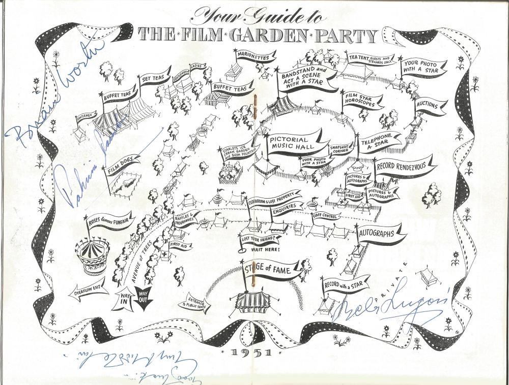 Bela Lugosi, Guy Middleton, Brian Worth and Patricia Dainton signed Sunday Pictorial film garden