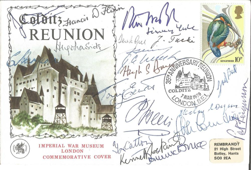 Colditz Castle Reunion cover signed by 28 WW2 inmates. Includes Mike Moran, Francis Flynn, Jimmy