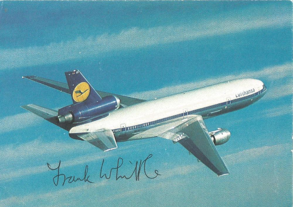 Frank Whittle signed 6 x 4 colour DC10 in flight postcard. Good Condition. All signed pieces come