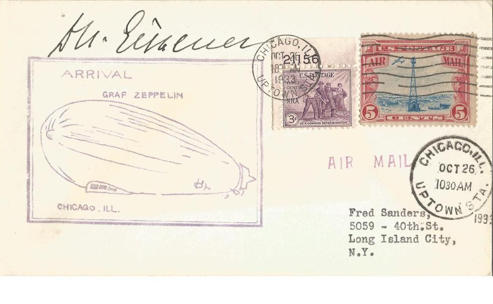 Dr. Hugo Eckener Zeppelin legend signed 1933 Graz Zeppelin arrival in Chicago cover, with 26/10/33