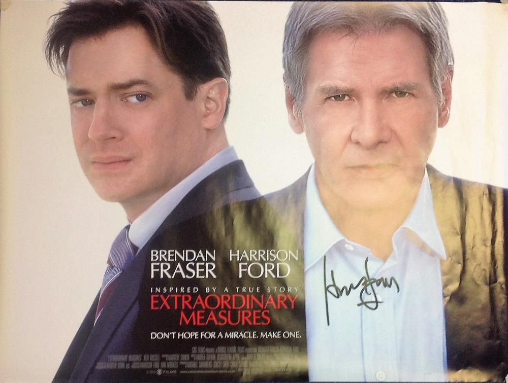 Harrison Ford signed large A0 Extraordinary Measures promotional poster, signed in black marker.