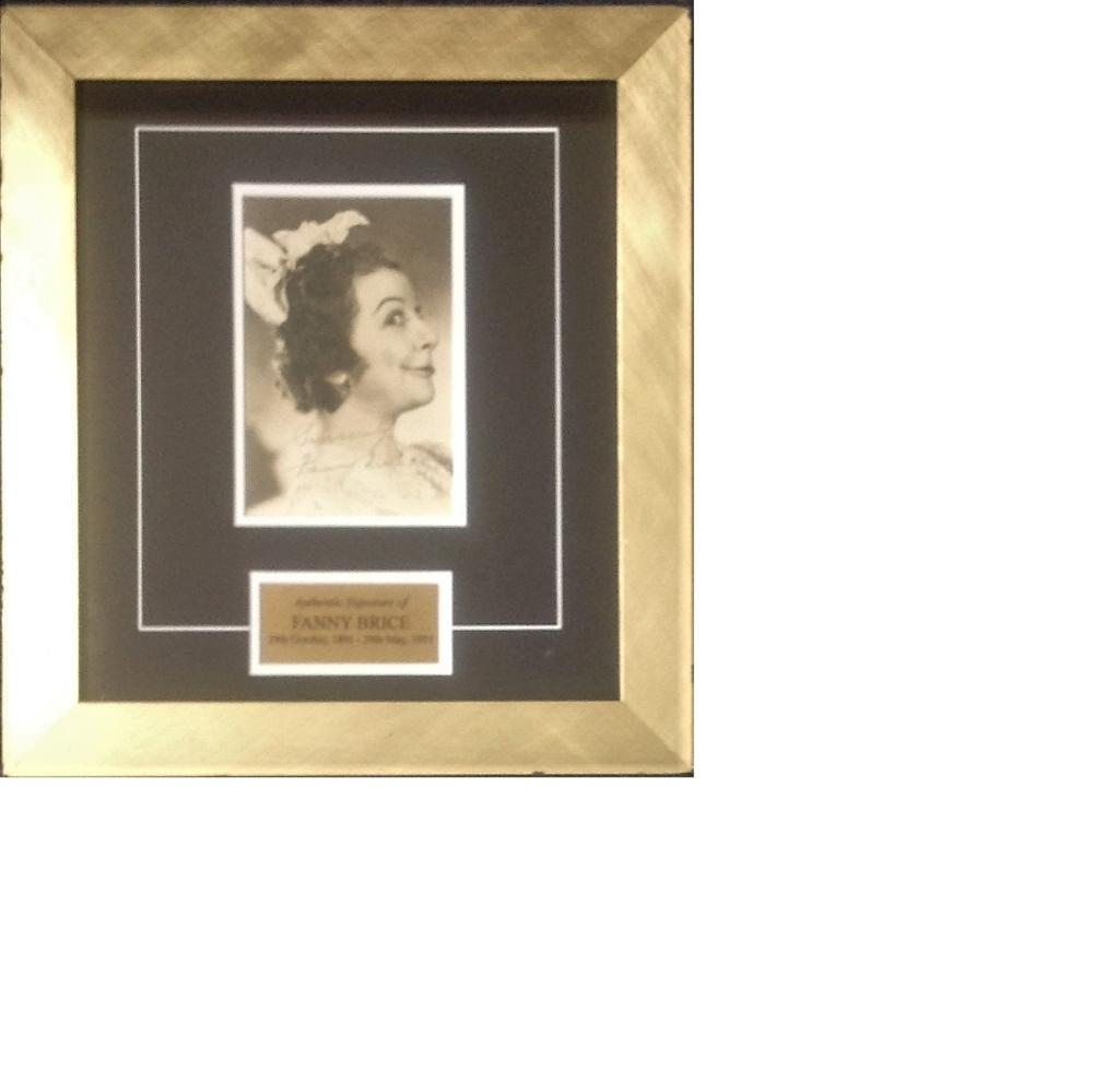 Fanny Brice signed b/w vintage photo 15x14 overall mounted and framed to a professional standard.