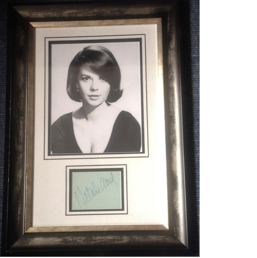 Natalie Wood signature piece 21x15 overall includes stunning b/w photo and signed album page all