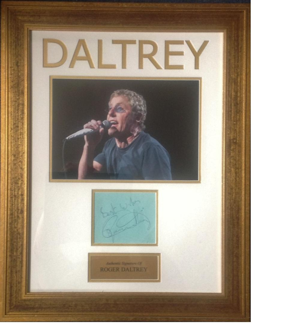 Roger Daltrey signature piece 22x8 overall includes Daltrey embossed at the top , colour photo ,