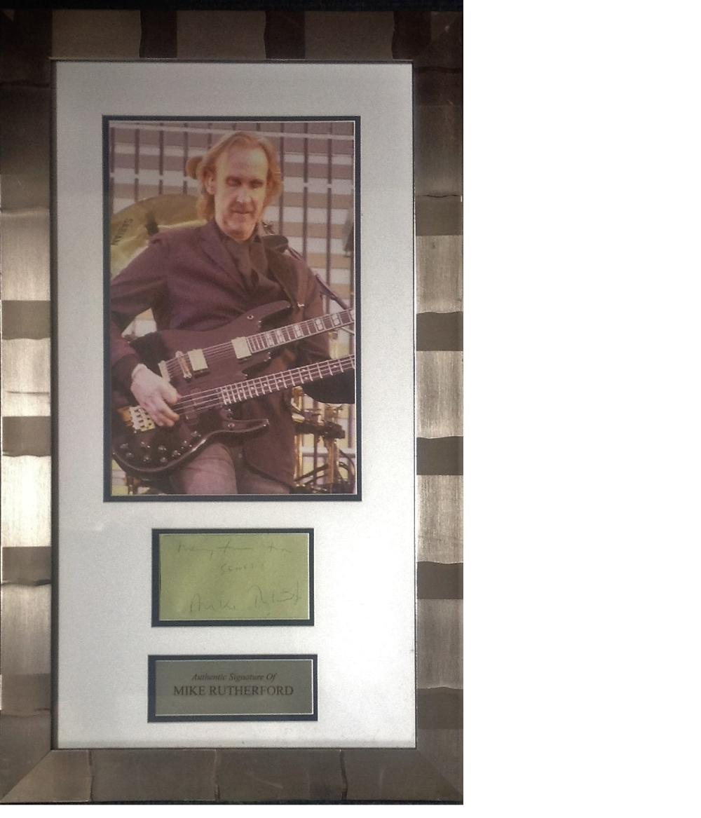 Mike Rutherford signature piece 22x14 overall includes colour photo signed album page and
