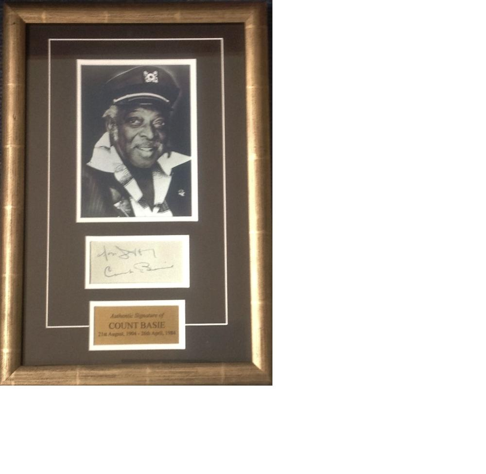 Count Basie signature piece 17x12 overall includes b/w photo, signed album page and authentic