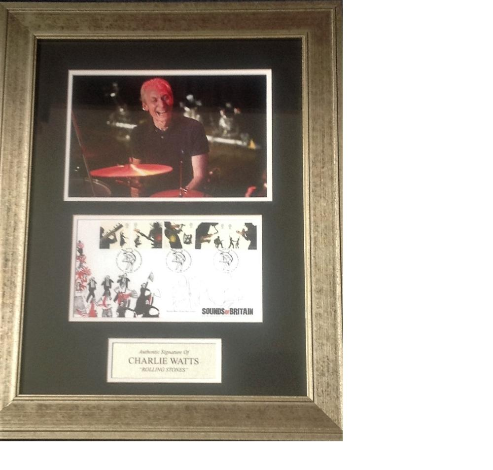 Charlie Watts signature piece 22x17 overall includes colour photo and signed Sounds of Britain FDC