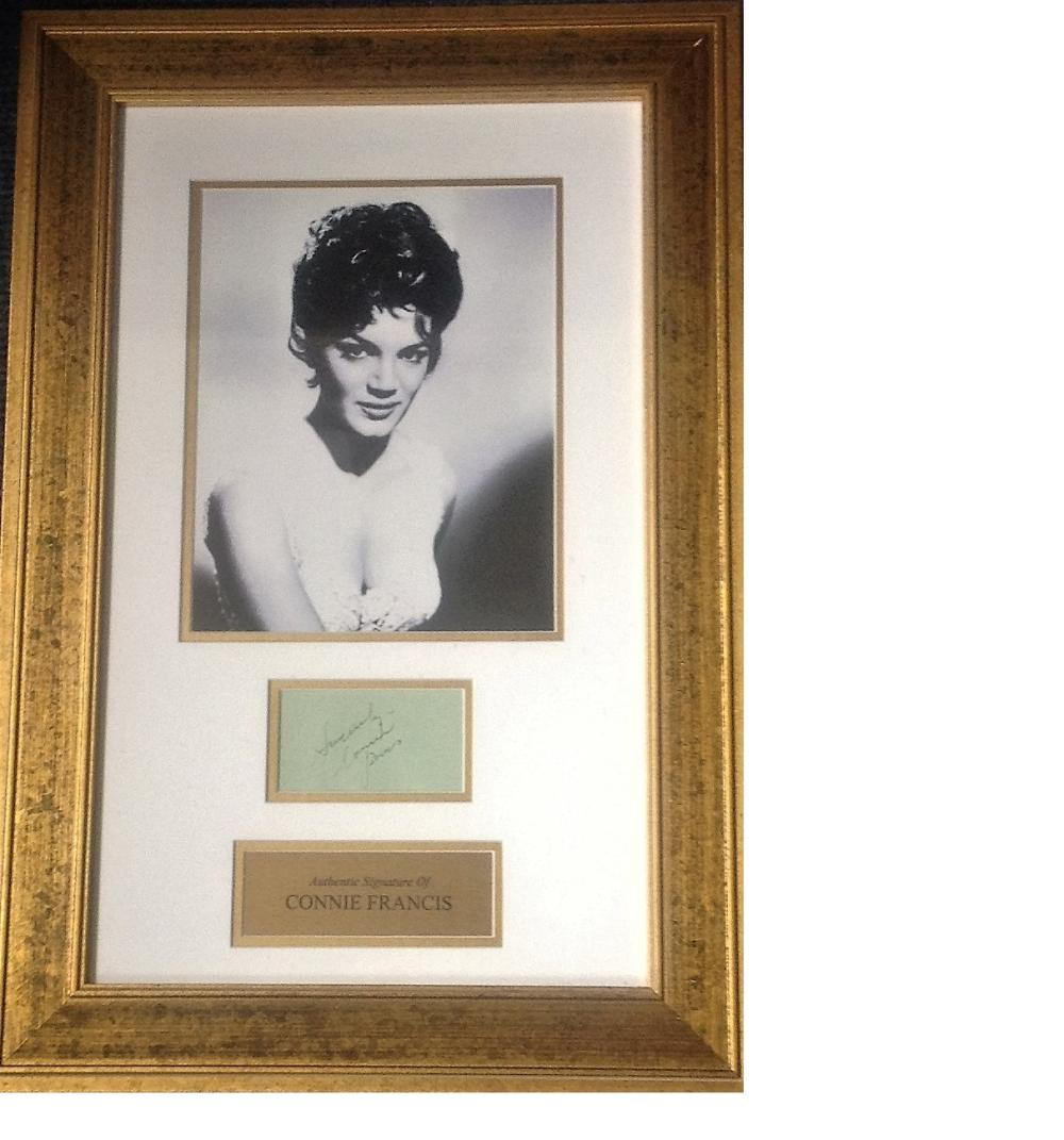 Connie Francis signature piece 22x15 overall includes b/w photo and signed album page both mounted