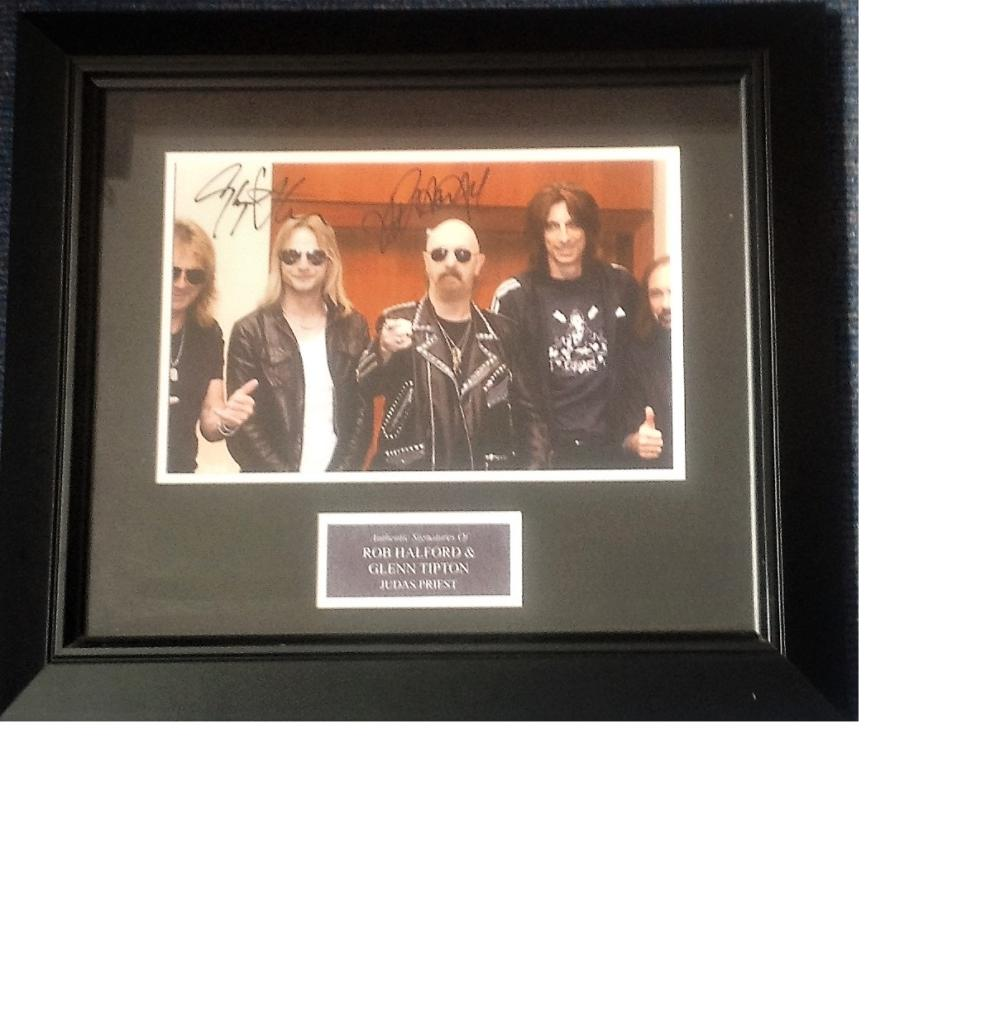 Judas Priest signed colour photo 16x18 overall mounted and framed to a professional standard