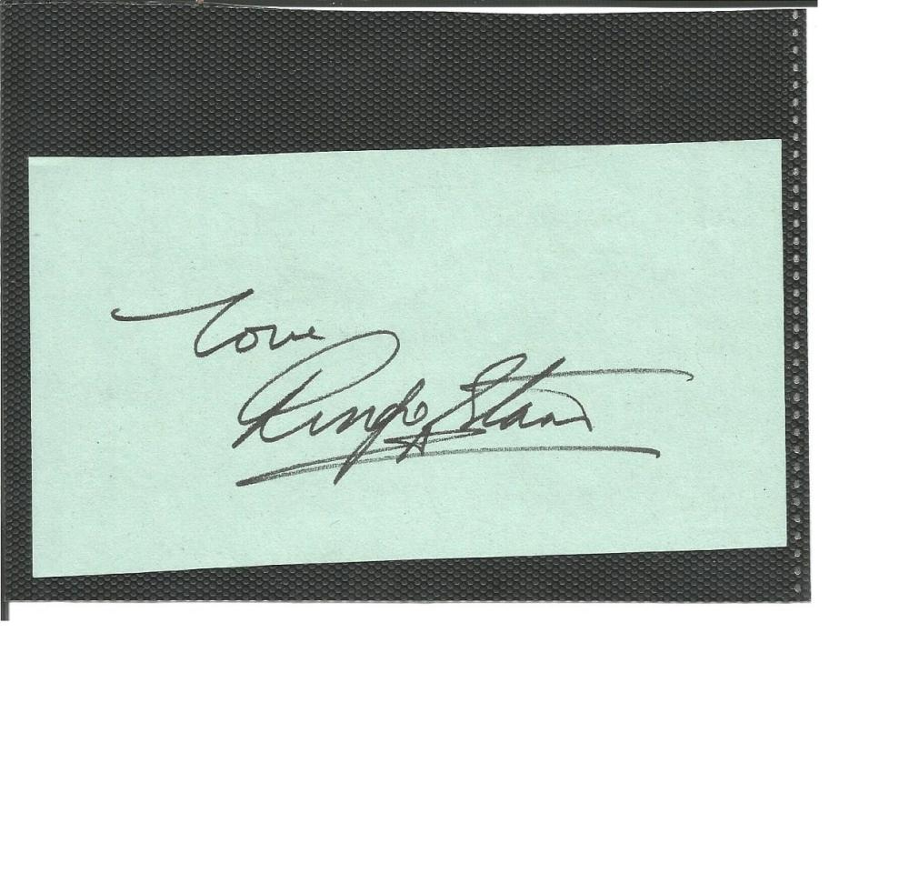 Ringo Starr signature piece. A rarer full signature of the former Beatles drummer. English musician,