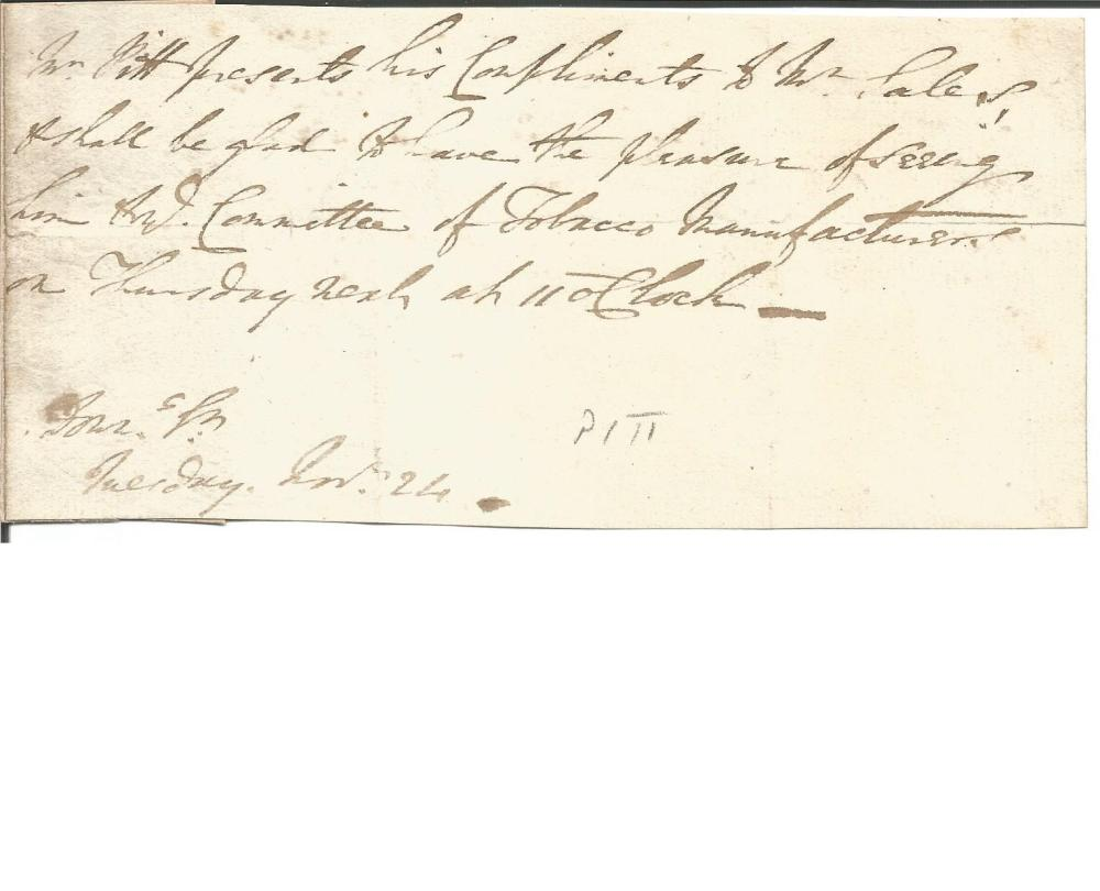 William Pitt the Younger letter fragment, regarding the committee of tobacco manufacturers.