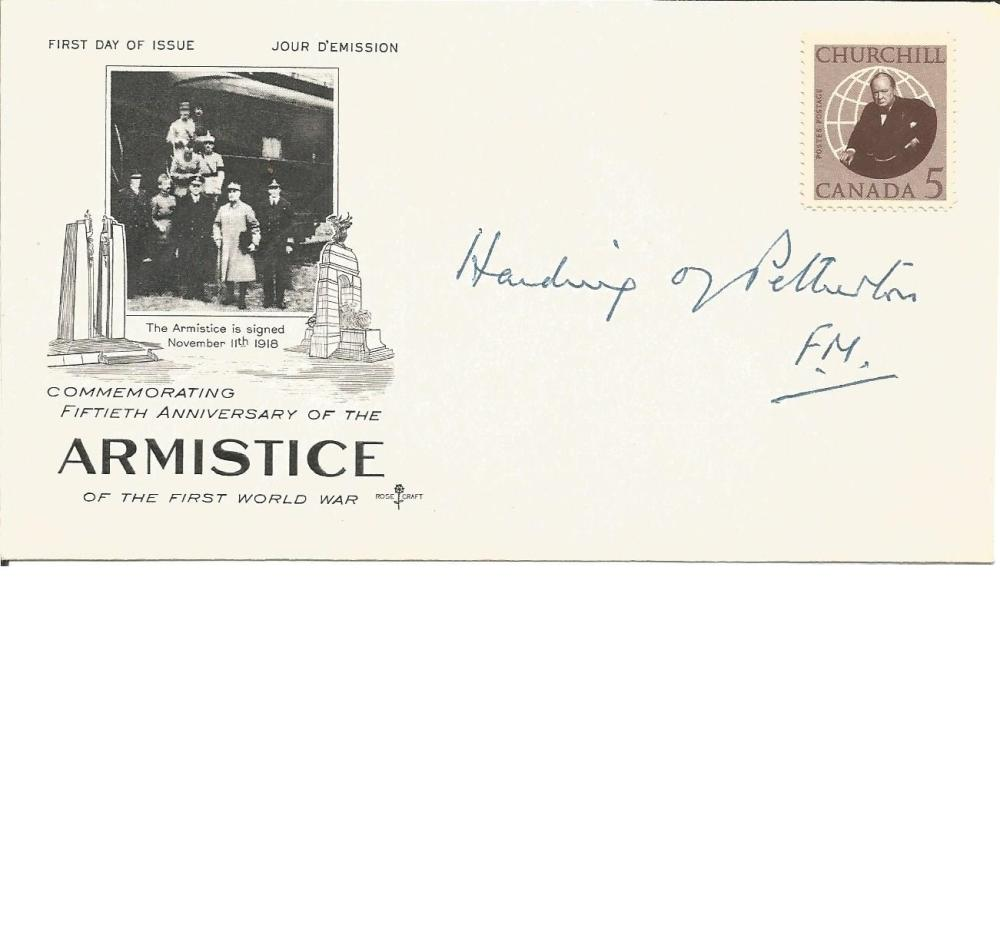 Field Marshal Harding signed FDC commemorating 50th anniv of the Armistice. 1st Baron Harding of