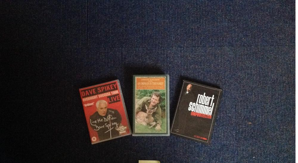 DVD and video signed collection. Includes 2 DVD's signed by Dave Spikey and Robert Schimmel and