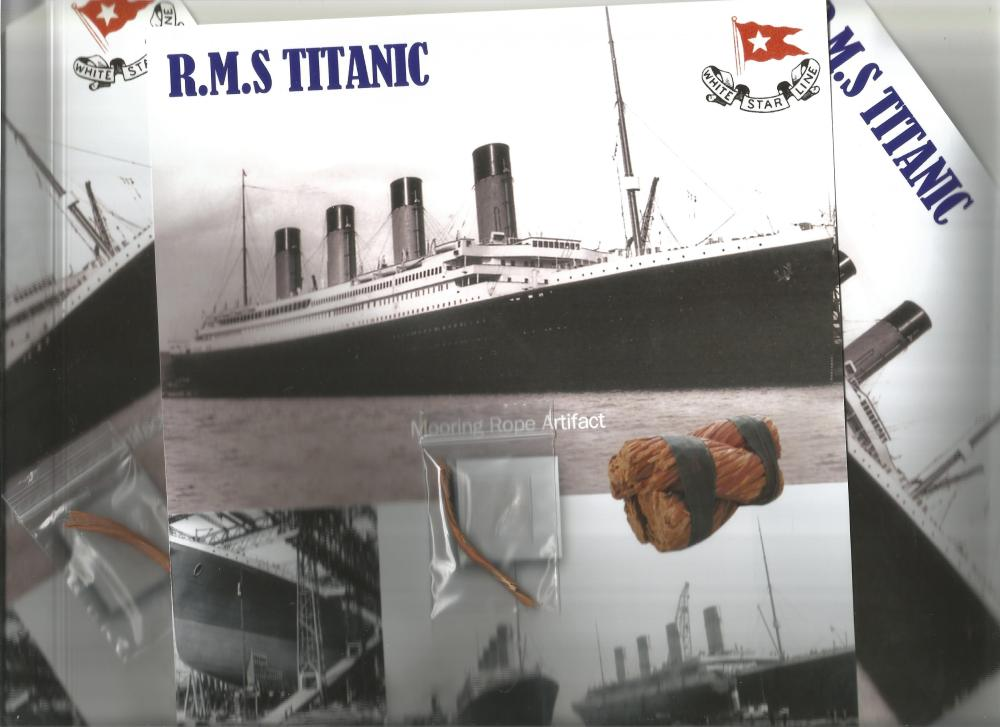 THREE RMS Titanic Mooring Rope Presentation. We have just acquired a piece of mooring rope used at
