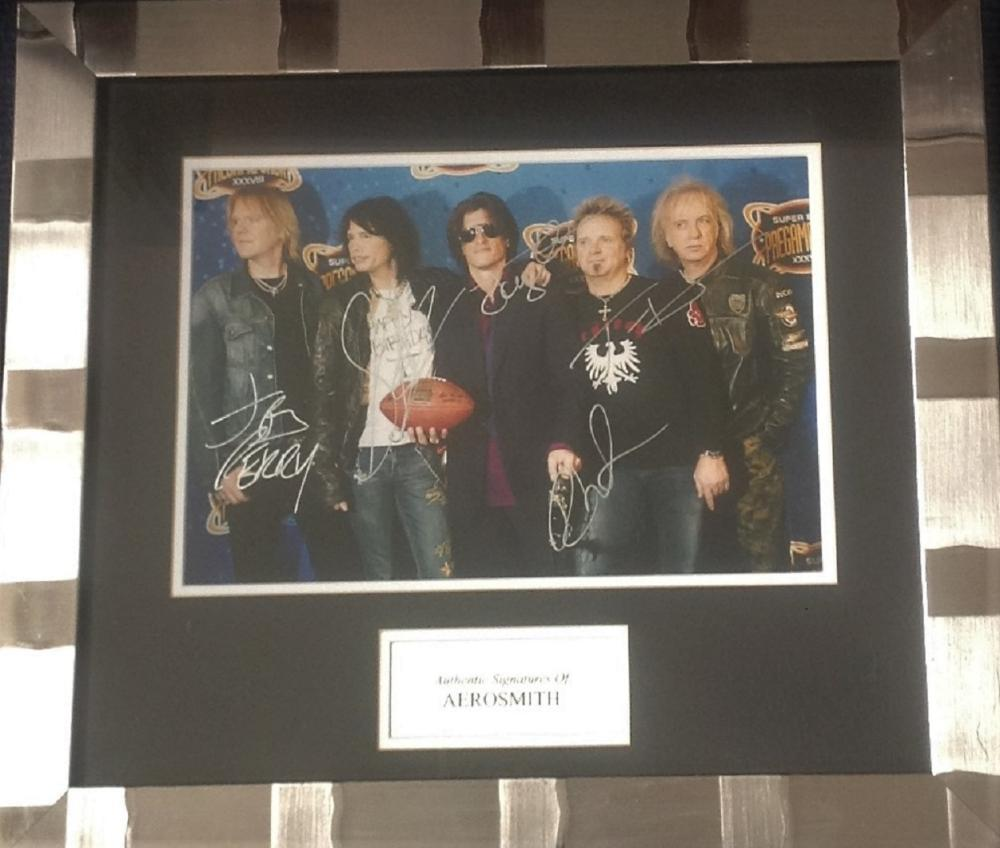 Aerosmith signed colour photo 16x18 overall mounted and framed to a professional standard signed