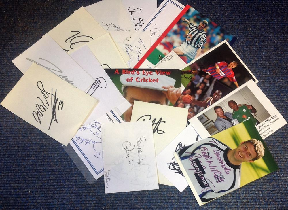 Sport signed collection. 20+ items. Assortment of flyers, album pages, photos. Some of names