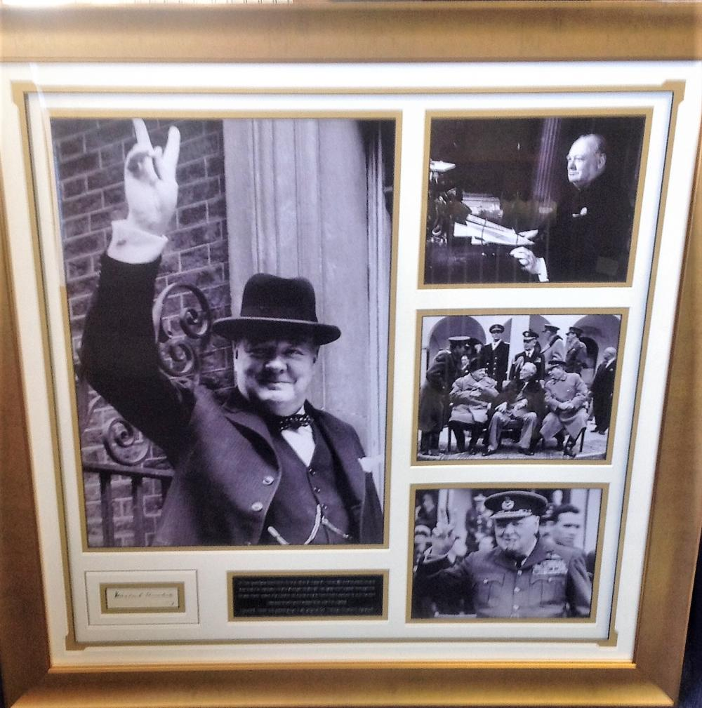 Winston Churchill signature piece framed and mounted to high standard with four famous b/w images.