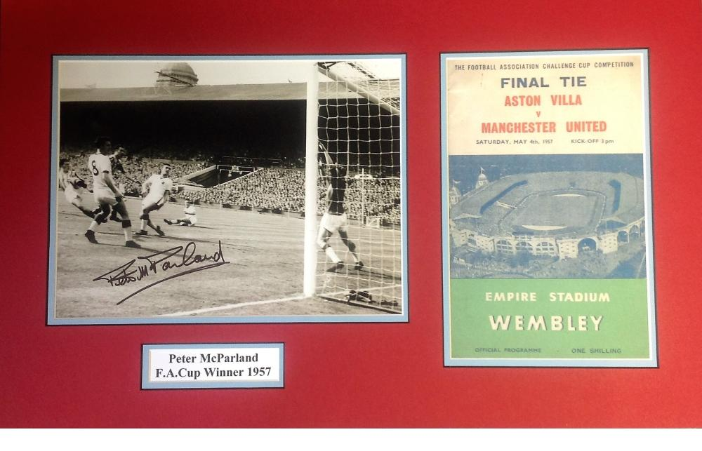 Peter Mcparland signed b/w photo. Mounted alongside 1957 match day programme. Approx overall size