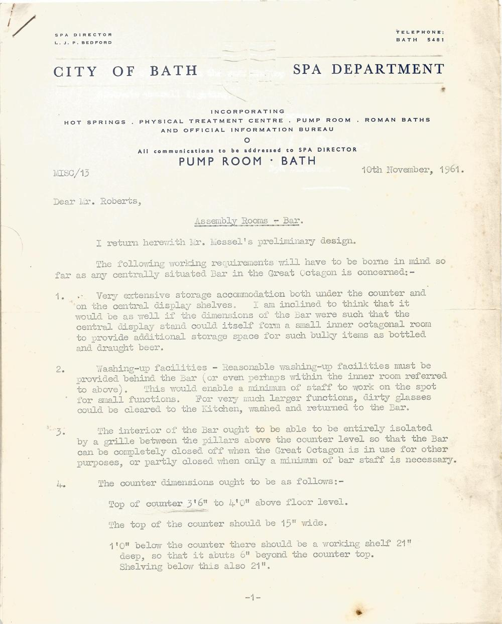 Architectural Drawings & Diagrams for Alterations at Bath Assembly Rooms in the 1960s Includes