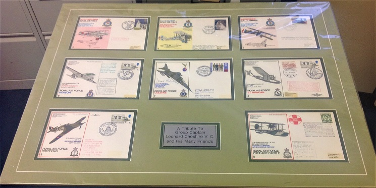 RAF commemorative flown covers 26x19 montage a tribute to group Captain Leonard Cheshire VC and