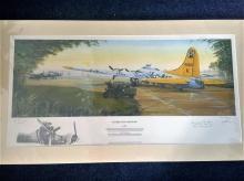 World war 2 aviation print. Sunrise over Lavenham 32x18 aces edition 2 of 5 coloured print mounted