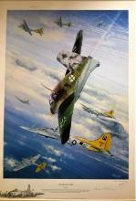 World war 2 aviation print. The Deadly Skies 33x24 coloured print mounted Kings cross edition 4/