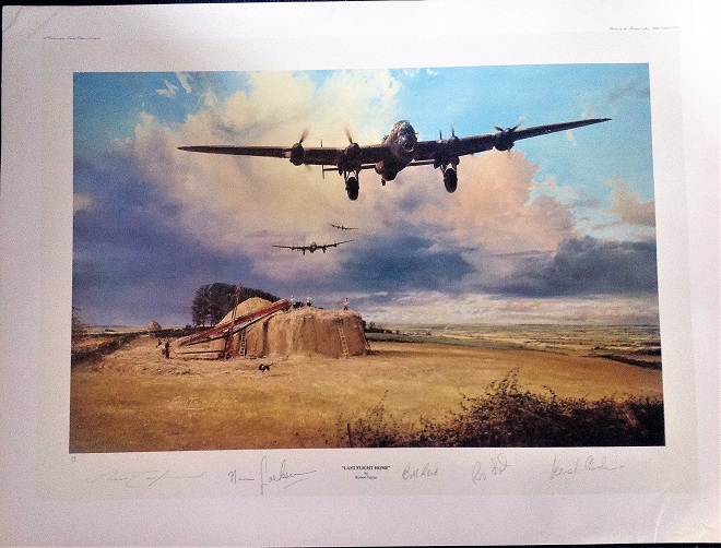 World war 2 aviation 27x20 coloured print 64/100 Last flight home signed by the artist Robert Taylor