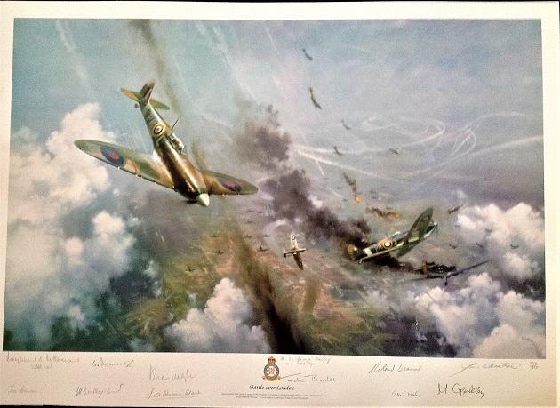 World War 2 Battle of Britain aviation print Battle over London signed 11 pilots