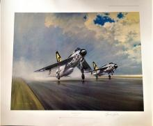 RAF aviation coloured print. 32x26 Coloured Print Thunder and Lightnings by the artist Gerald