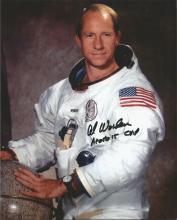 Col Al Worden Apollo 15 CMP signed 10 x 8 colour white space suit photo. Good Condition. All