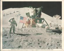 Jim Irwin Apollo 15 moonwalker signed 10 x 8 b/w of him on the moon. Has printed inscription. Good
