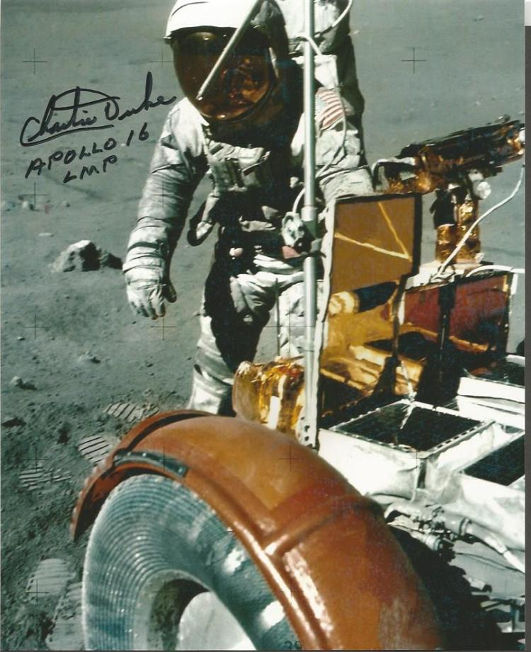 Charlie Duke Apollo 16 moonwalker signed 10 x 8 colour photo on the moon with the moon buggy. Good