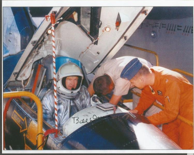 Bill Dana US test pilot signed 10 x 8 colour photo in aircraft cockpit. American aeronautical